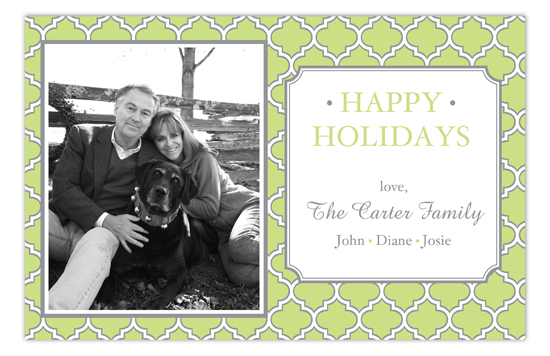 Green Quatrefoil Photo Card