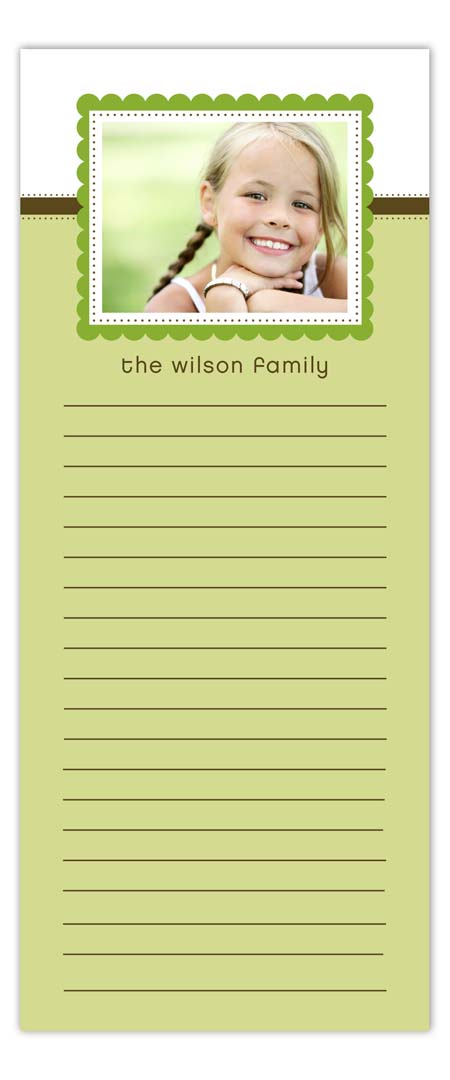 Green Scallop Photo Notepad