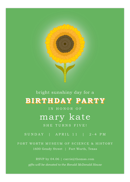 Green Sunny Flower Birthday Invitation