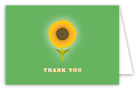 Green Sunny Flower Note Card