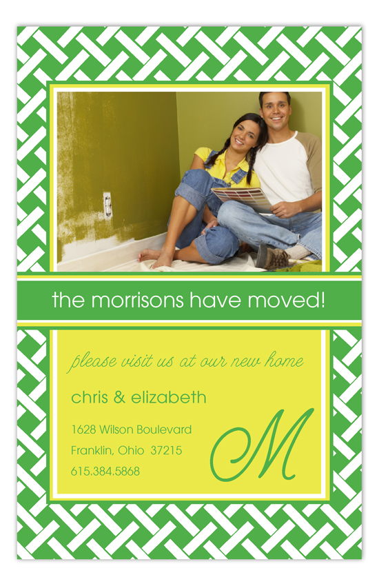 Green Trellis Photo Card Moving Announcements