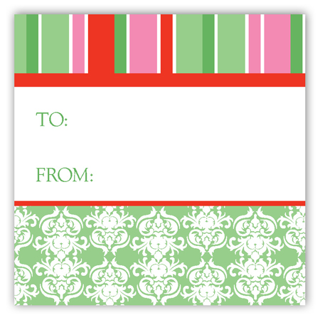 Green Winter Damask Square Sticker