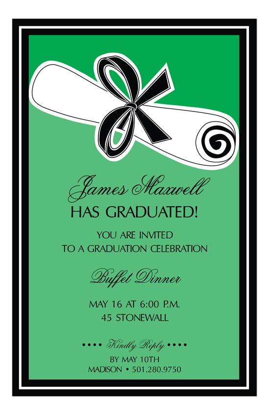 Green Wrapped Diploma Invitation