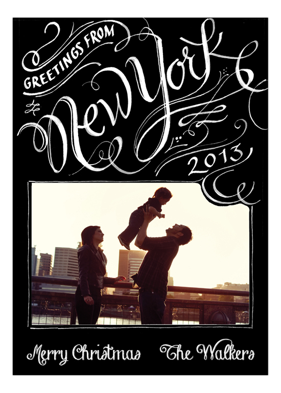 Greetings from New York Black Family Photo Card