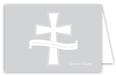 Grey Cross Banner Note Card