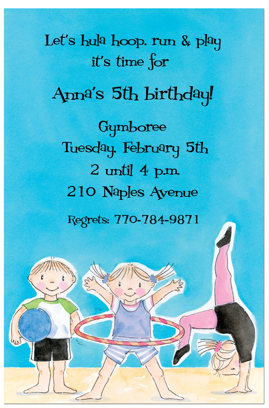 Hula Hoop Kids Birthday Gymnastics Invitations