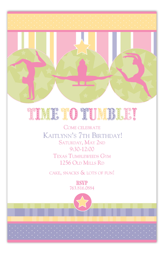 Gymnastics Time Invitation