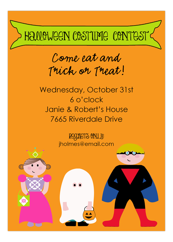 Boo Halloween Kids Costumes Invitation
