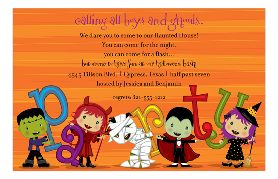 Orange Stripe Halloween Kids Invitation