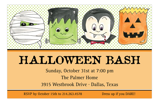 Halloween Trick or Treaters Invitation