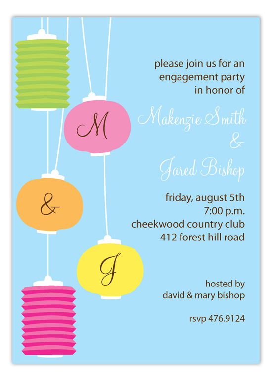 Hanging Initial Lanterns Invitation