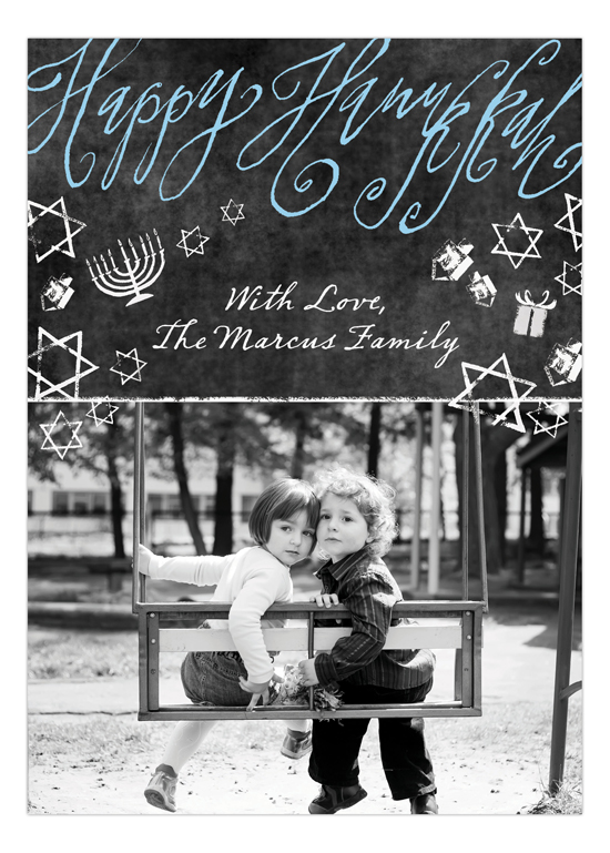 Hanukkah Chalkboard Photo Card