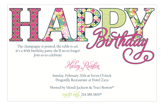 Happy Bday Pink Patterns Cute Birthday Party Invitations Online