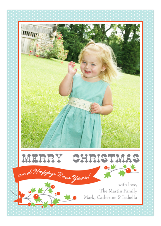 Happy Holly Banner Photo Card