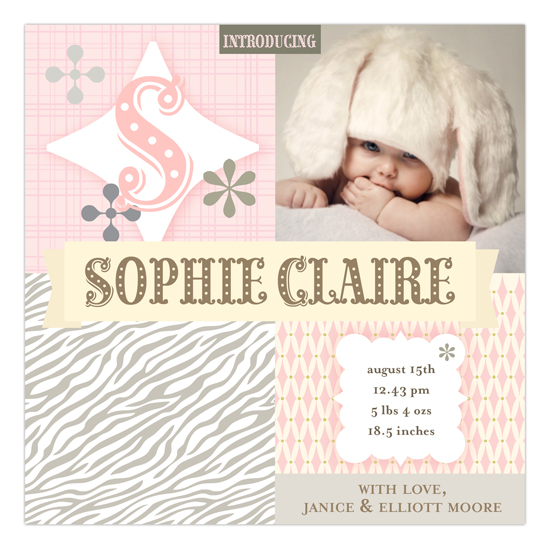 Harlequin Happiness Pale Pink Square Photo Card