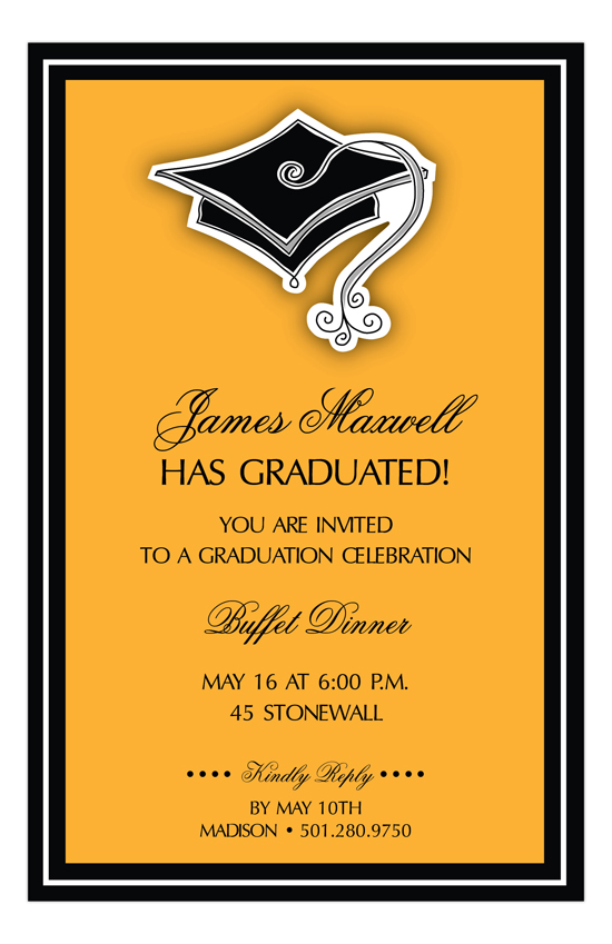 Hats off Orange Graduation Invitation