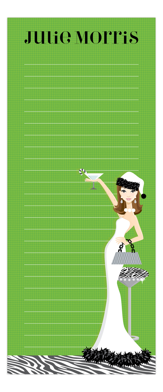 Hip Holiday Hostess Brunette Skinny Notepad