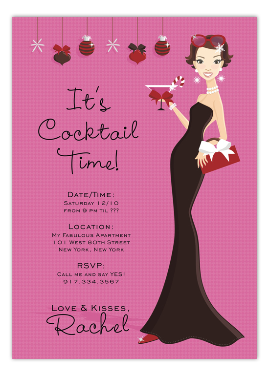 Cocktail Time Hip Holiday Hostess Invitation