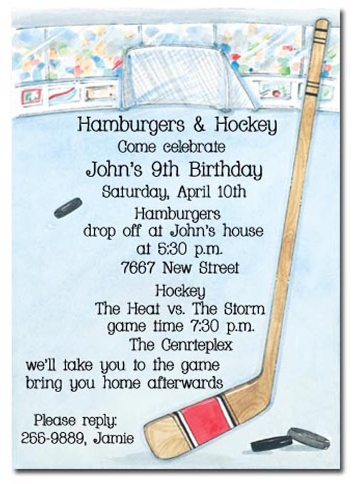 Hockey Party Invitation Polka Dot Design