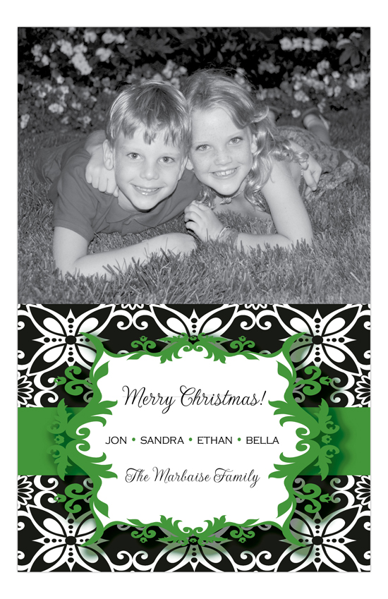 Holiday Cheers Green Photo Card