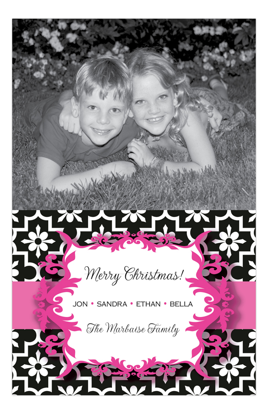 Holiday Cheers Pink Photo Card