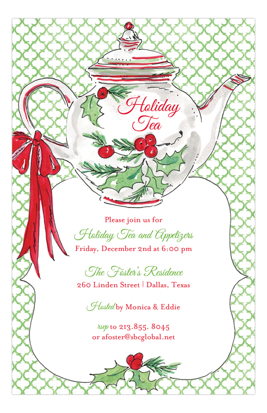 Holiday Christmas Tea Invitation