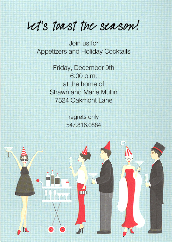 Holiday Cocktail Party Invitation Polka Dot Design