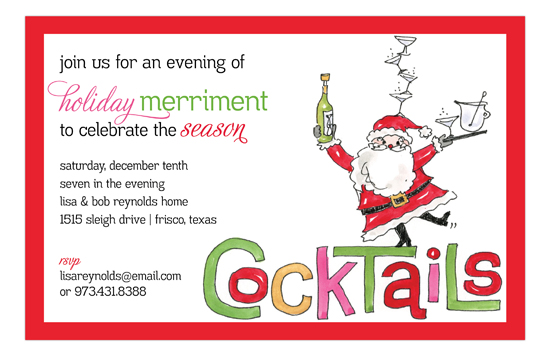 Holiday Cocktail Santa Invitation