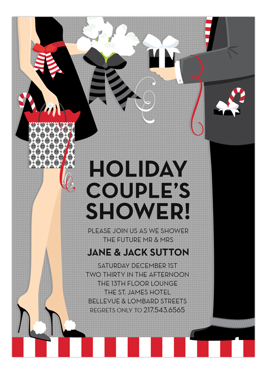 Holiday Couples Shower Invitation printed invitations for a