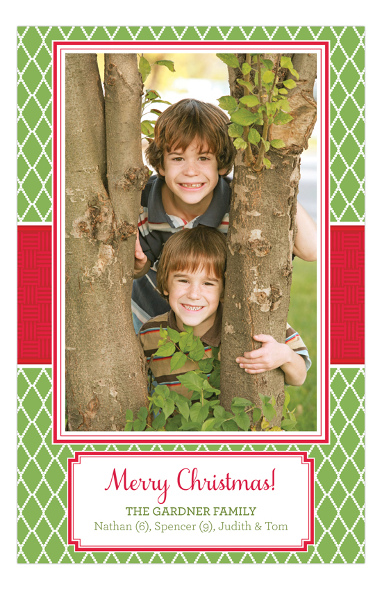 Holiday Green Diamonds Red Band Photo Card