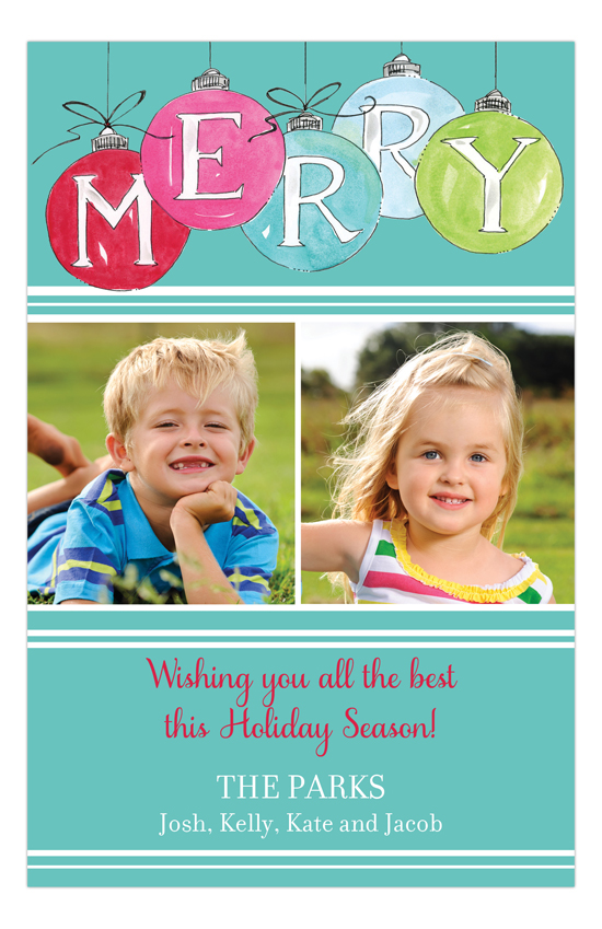 Holiday Merry Ornaments Photo Card
