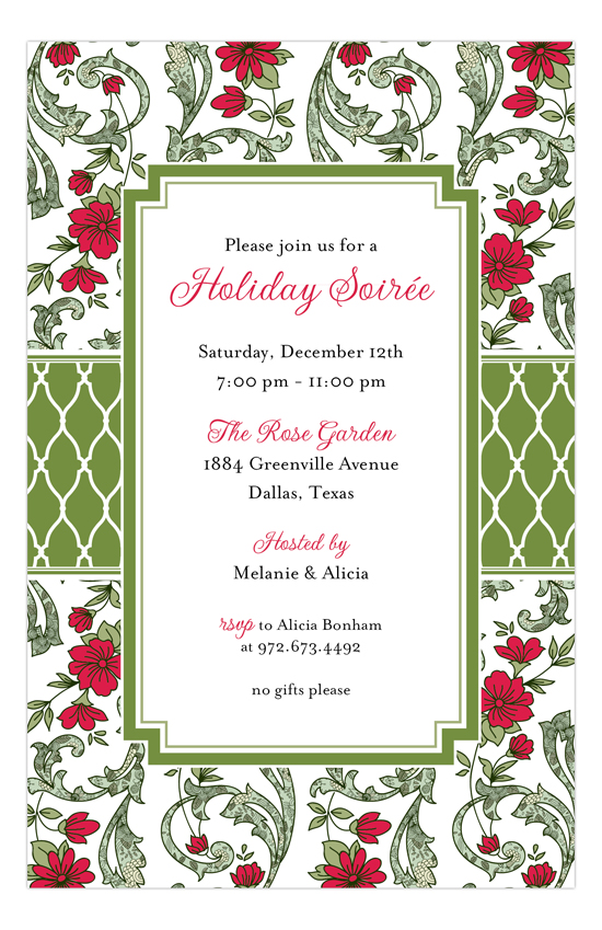 Holiday Moss Cranberry Floral Invitation