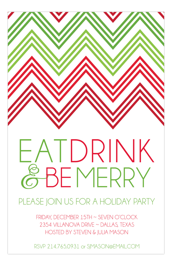 Holiday Red Green Chevron Invitation