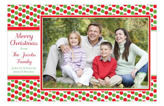 Holiday Red Green Tiny Dots Photo Card
