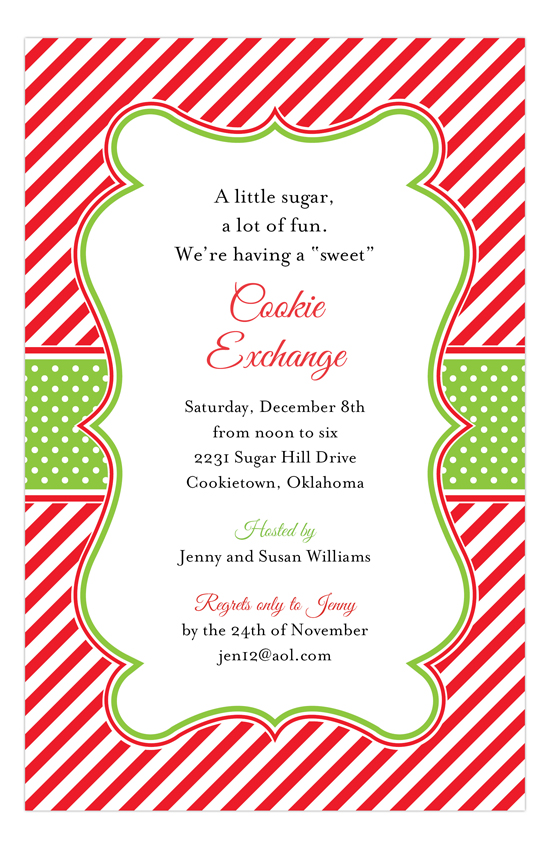 Holiday Red White Stripes Invitation