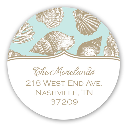 Holiday Sea Shells Round Sticker