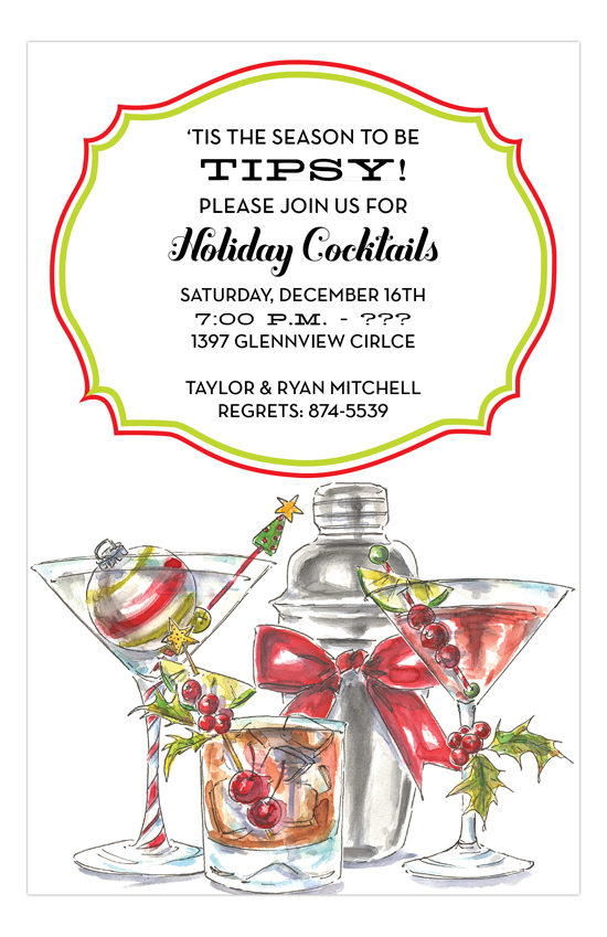 Holiday Spirits Corporate Cocktail Mixer Invitation