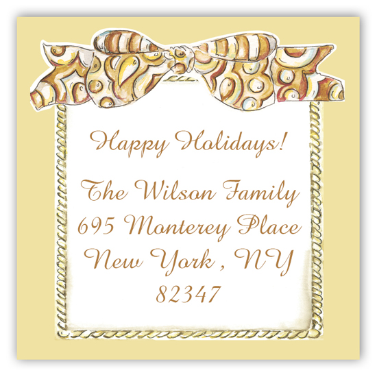 Holiday Gold Sticker with Bow