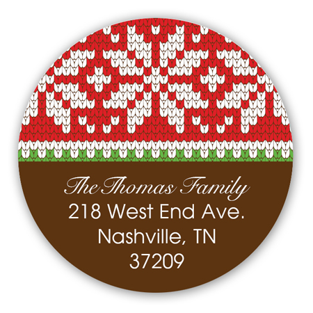 Holiday Sweater Brown Round Sticker