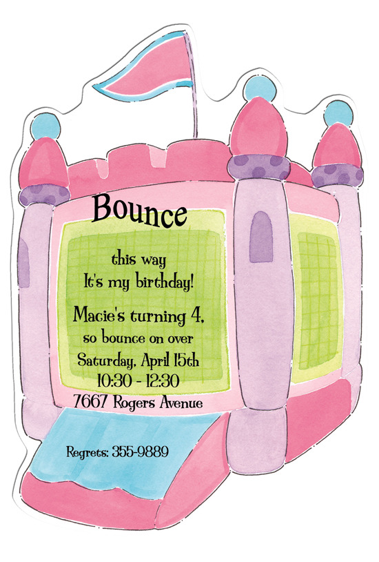 Hop To It Pink Die-cut Bounce House Invitations