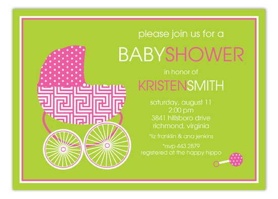 Hot Pink Baby Buggy Invitation