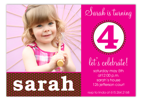 Hot Pink Birthday Seal Photo Invitation