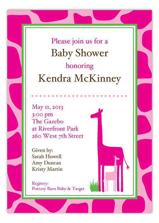 Hot Pink Giraffe Invitation