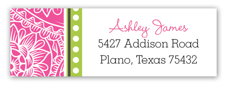 Hot Pink Paisley Lime White Dotted Stripe Address Label
