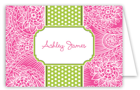 Hot Pink Paisley Lime White Dotted Stripe Folded Note Card