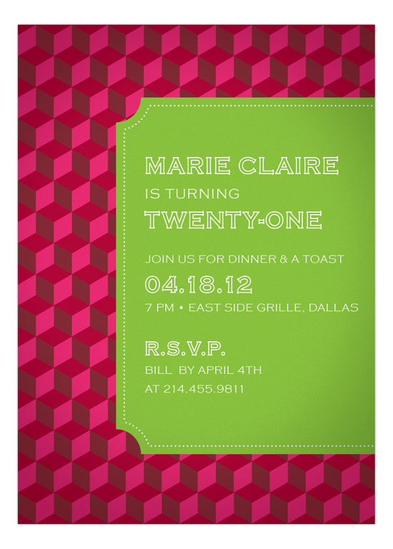 Hot Pink Stepping Blocks Invitation