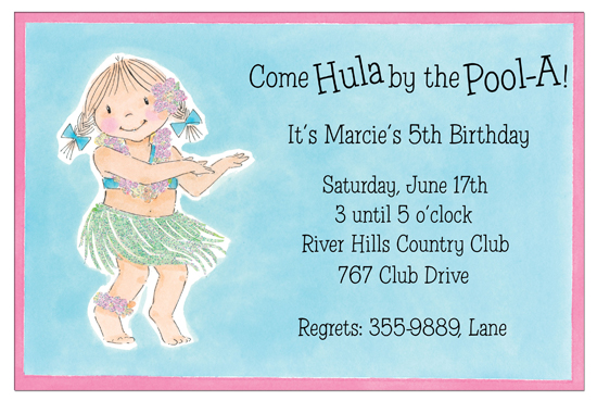 Come Hula by the Pool-A Girl Invitations