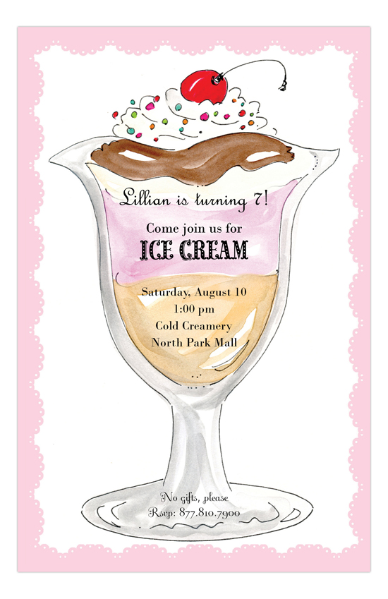 rosanne beck ice cream social invitation   personalized