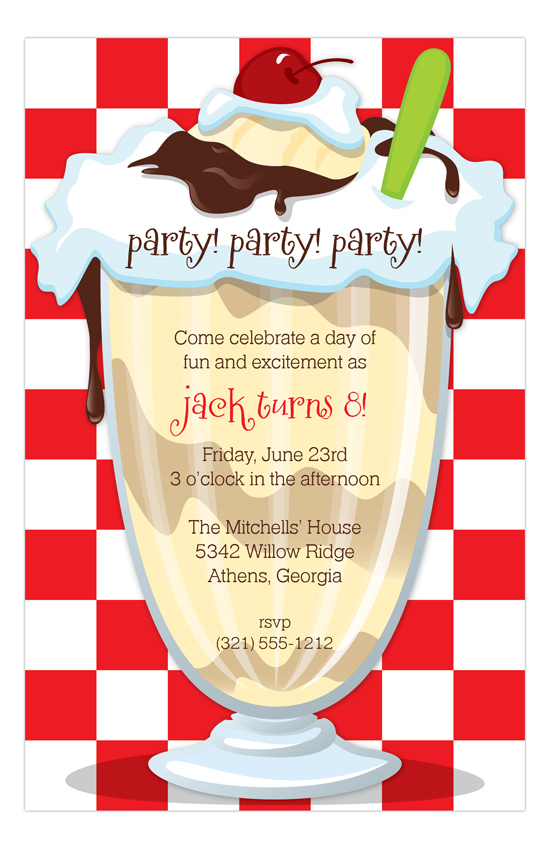 Ice Cream Social Sundae Invitation