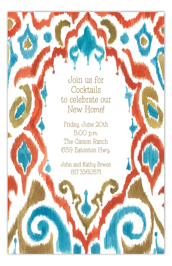 Ikat Peacock Invitation